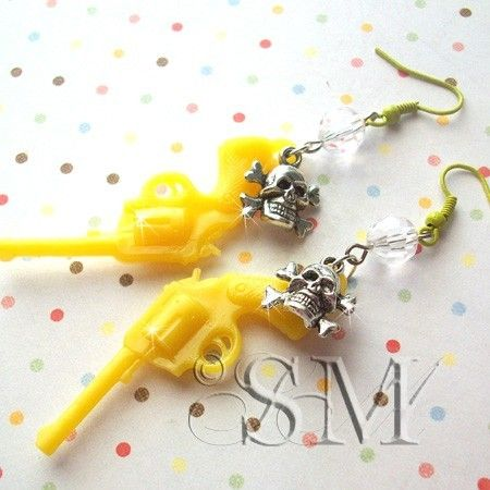 Pistol Whipped  yellow charm earrings by EssemDesign on Etsy, $10.99