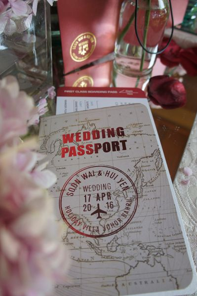 Red travel theme passport and boarding pass wedding invitation:
