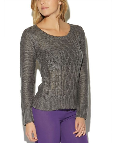 """Keep warm and layer on with this cozy sweater! Featuring a soft and solid cable knit body, round collar, and thick ribbed trim.  Model is 5'10"""" and wears a size small      75% Acrylic / 25% Nylon      Machine Wash     Imported"""
