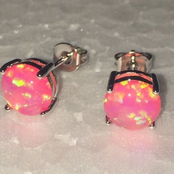 Pink Fire Opal Stud Earring Stunning!!!/ Romantic Style/ Pink fire Opal/Round shape/Metal Silver/ Price Firm Jewelry Earrings
