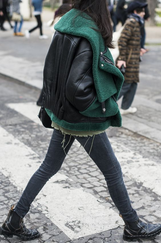 emerald under leather, layered jackets: