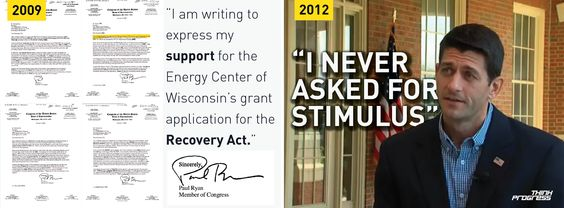 Paul Ryan says he never asked for stimulus. His signature says otherwise. http://thkpr.gs/Olti5S