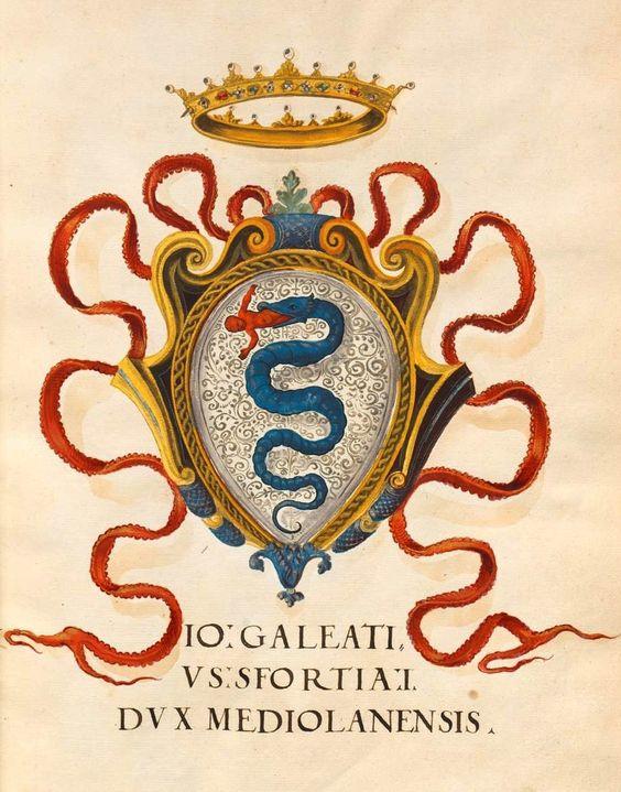Gian Galeazzo Sforza Visconti, Herzog von Mailand Wappen [Galeazzo Maria Sforza (1444-1476), Duke of Milan] (f°6r) -- «Insigna pontificum Romanorum et cardinalium V. Insignia urbium Italiae septentrionalis: Nobilium Mediolanensium», [S.l.] Italien, Mitte 16. Jh. [BSB Cod.icon. 270].