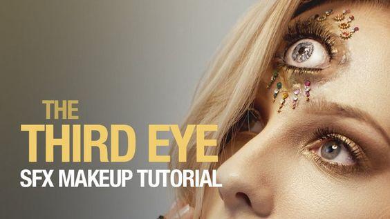 """Pin for Later: Keine Zeit oder Geld für ein Kostüm? 10 schaurig-schöne Halloween Makeup Ideen Halloween Makeup-Tutorial für ein drittes Auge Makeup-Tutorial für ein drittes Auge von """"ellimacs sfx makeup"""""""