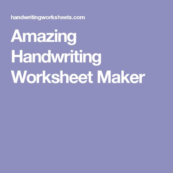Amazing Handwriting Worksheet Maker work – Amazing Handwriting Worksheets