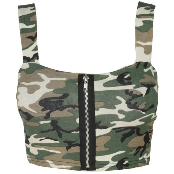 Green Camouflage Print Zip Font Top Bralet (28 AED) ❤ liked on Polyvore featuring tops, shirts, crop tops, bralet, blusas, bralet crop top, black top, black crop top, bralette tops and crop shirts