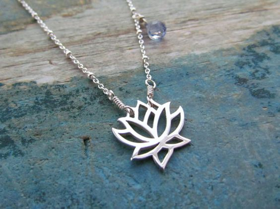 Silver lotus necklace - blue quartz gemstone, sterling silver - yoga jewelry. $35.00, via Etsy.