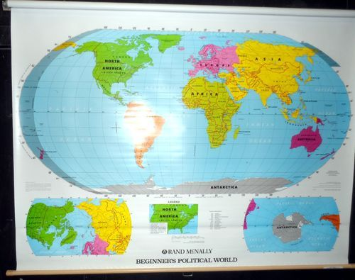 Large rand mcnally beginners political world pull down school wall large rand mcnally beginners political world pull down school wall map wall maps and school gumiabroncs Image collections