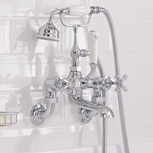 Milano Elizabeth Traditional Wall Mounted Crosshead Bath Shower Mixer Tap Chrome And White Bath Shower Mixer Taps Bath Shower Mixer Amazing Bathrooms