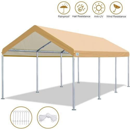 10 X 20 Heavy Duty Carport Car Canopy Garage Shelter Party Tent Adjustable Height From 6ft To 7 5ft Beige In 2020 Car Canopy Party Tent Carport Tent