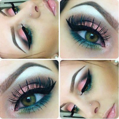 Candy eye makeup. pink shadow on lid. winged liquid liner. purple in outer crease. turquoise bottom lash line. little green on inner corner of bottom lash line, and highlighter under brown and inner corner of eye