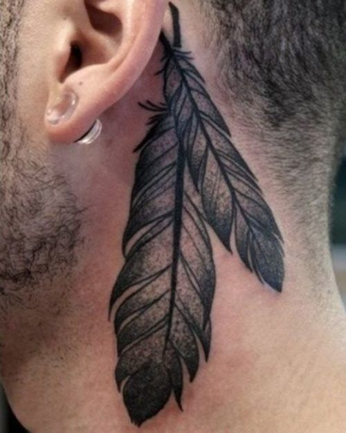 220 Tatuajes En El Cuello Fotos Y Disenos Increibles Tatuajes De Plumas Tatuaje Detras De La Oreja Tatuajes Cuello