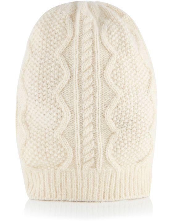 Bonnet large en angora torsadé | Blanc | Accessorize