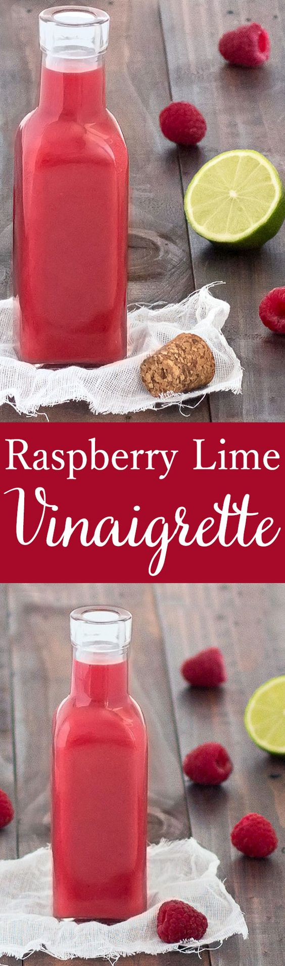 This raspberry lime vinaigrette is very easy to put together. It's fruity, tangy, sweet and and the vibrant pink color will brighten up your same old salad!