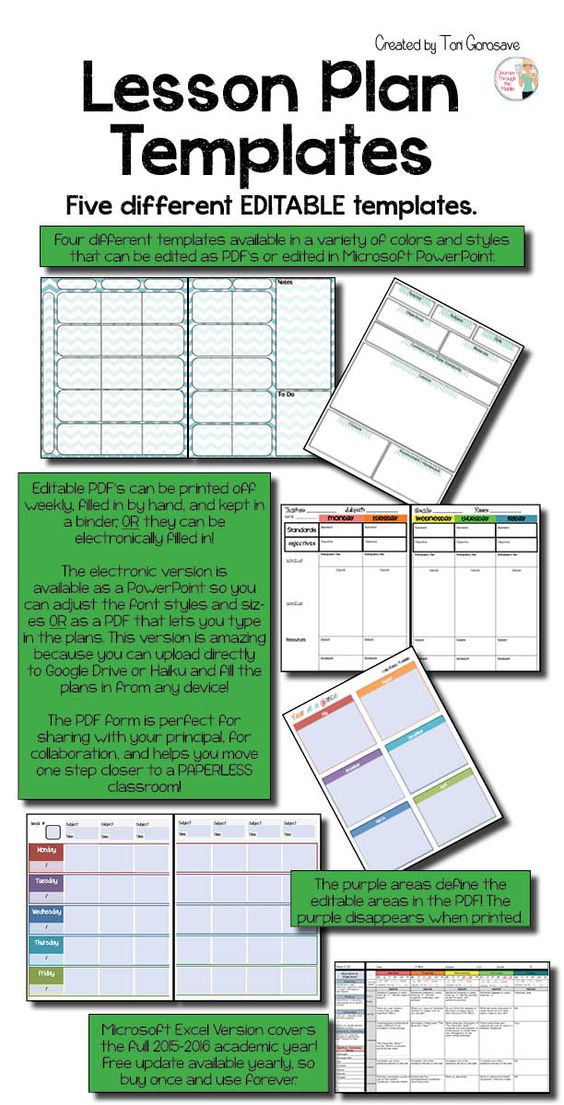 Lesson Plan Templates - Multiple Editable Templates {Google - microsoft templates tickets