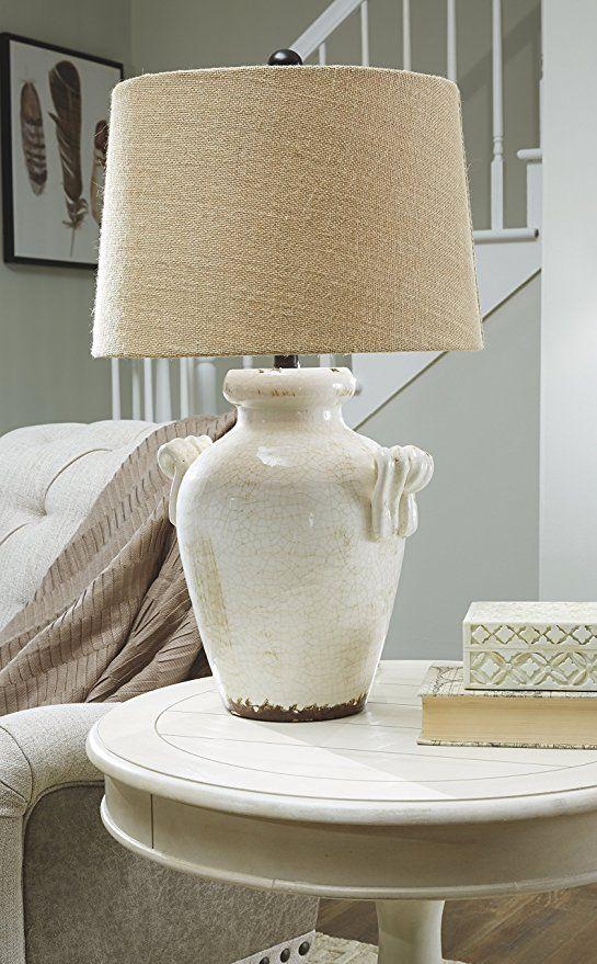 Ashley Furniture Signature Design Emelda Farmhouse Ceramic Table Lamp Cream Amazon Com Vintage Table Lamp Table Lamps Living Room Farmhouse Table Lamps