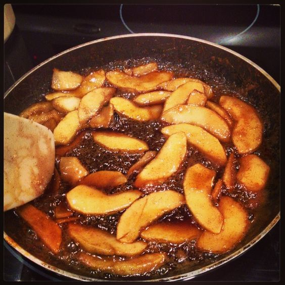 Easy homemade fried apples just heat a frying pan up with for 4 tablespoons of butter
