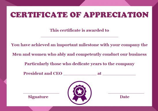 10 Years Service Award Certificate 10 Templates To Honor Years Of Service Template Sumo Award Certificates Service Awards Certificate Templates