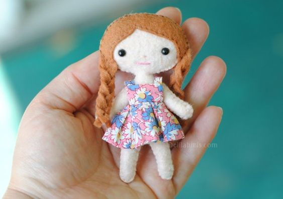 Sew your own pose-able pocket sized doll with this PDF felt doll sewing pattern by DelilahIris Designs! This listing is for the printable PDF file sewing pattern to make a 4 inch dollhouse doll with braids and 2 style of tiny dresses. What makes these tiny dolls so special? My tutorial