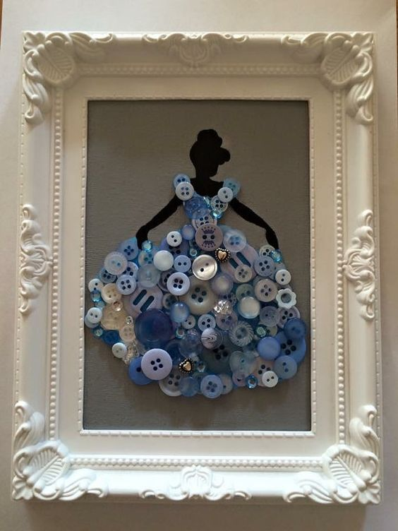 Disney princess framed button canvas by NorthStar2016 on Etsy