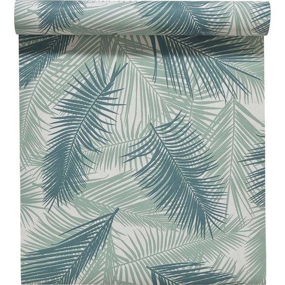 Papier peint intiss feuille de palme vert leroy merlin - Papier peint bibliotheque leroy merlin ...