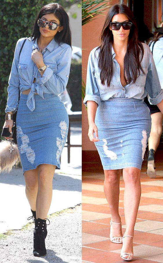 Double Denim from Every Time Kylie Jenner Has Dressed Exactly Like Kim Kardashian  Denim-on-denim is an on-point trend, so we're really can't blame the two for shelling out these identical outfits.