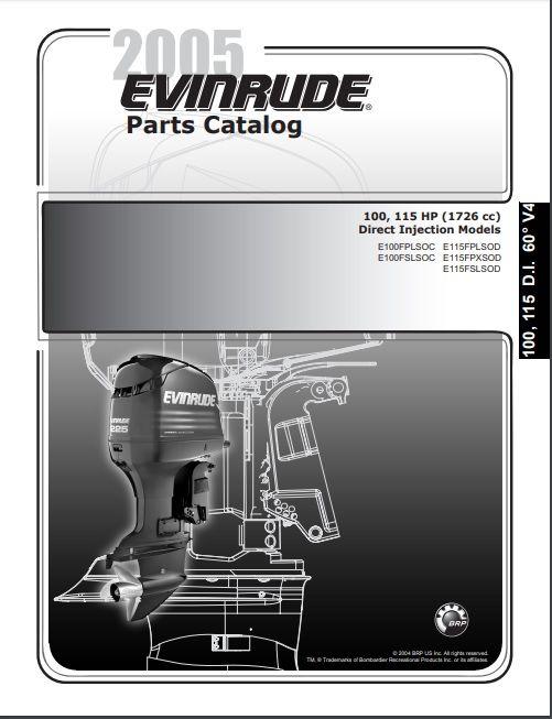 2005 Johnson Evinrude 100 115hp Direct Injection Parts Catalog