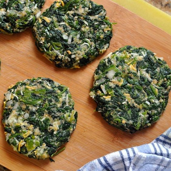 spinach burgers - high in protein, low in carbs.  1 bag of thawed and well drained chopped spinach    2 egg whites    1 whole egg    1/4 c diced onion    1/2 c shredded cheese    1/2 c bread crumbs    1 tsp red pepper flakes    1 tsp salt    1/2 tsp garlic powder