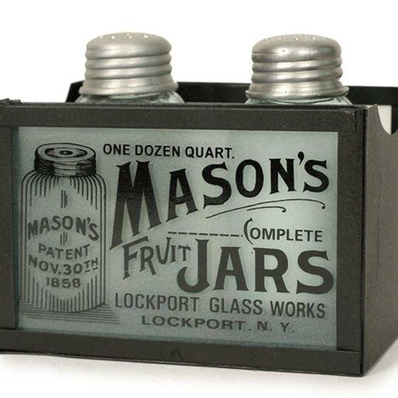 Mason Jar Salt and Pepper Shaker Caddy - Rustic Brown