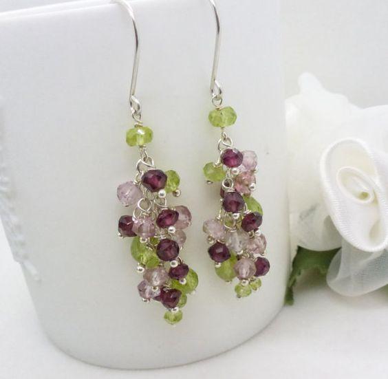 Garnet and peridot earrings long dark pink by CreativityJewellery