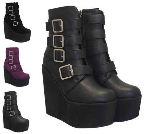 WOMENS LADIES BLACK ANKLE BUCKLE STRAPS HIGH WEDGE PLATFORM SHOES BOOTS SIZE 3-8