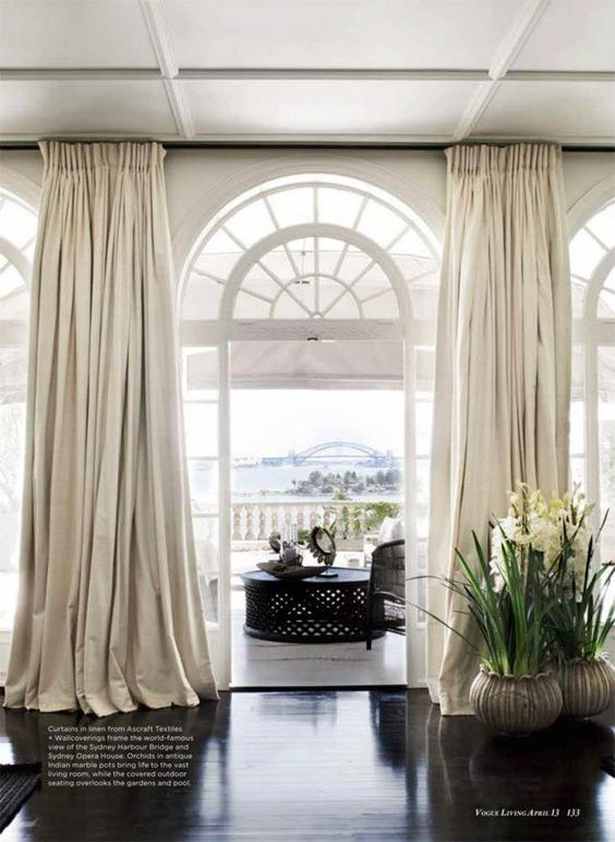 Vogue living vogue and ceiling curtains on pinterest for Curtains floor to ceiling windows
