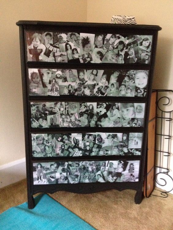 Mod podge dresser with my granddaughters pictures diy for Modge podge ideas