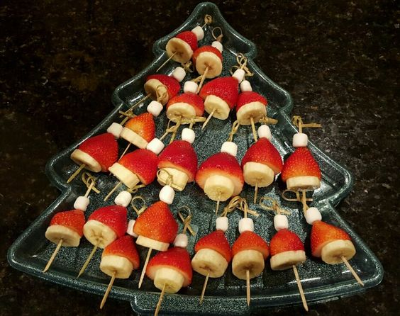 Easy and Quick Fruit Santa Hats Dessert for Christmas Recipe