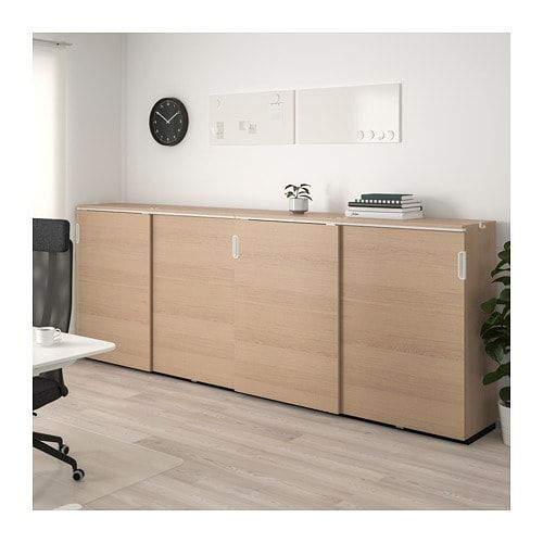 Galant Storage Combination W Sliding Doors White Stained Oak