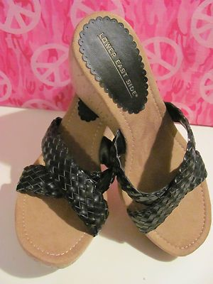 LOWER EAST SIDE    WOMENS BLACK    BRAIDED WEDGES    SIZE 8.5M    BRAND NEW    SIMULATED LEATHER    4 IN WEDGE    1.5 IN PLATFORM    AWESOME WEDGES    SUPER CUTE    WONDERFUL ADDITION    TO YOUR WARDROBE