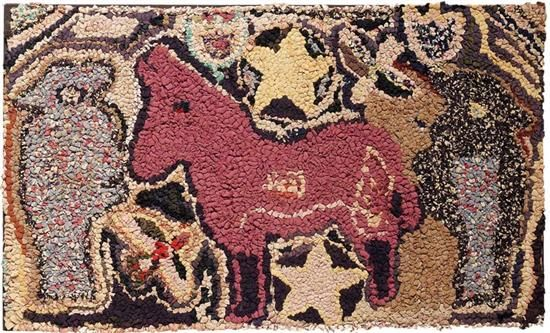 "FOLKY HOOKED RUG. 1920-1940. Pudgy purple pony surrounded by stars and tulips and flanked by large parrots in profile. Colorful strips of cotton, wool and rayon on burlap have shaggy effect. Mounted on stretcher. Ex Heims Collection, York County, Pennsylvania. 40""w. 24""h."