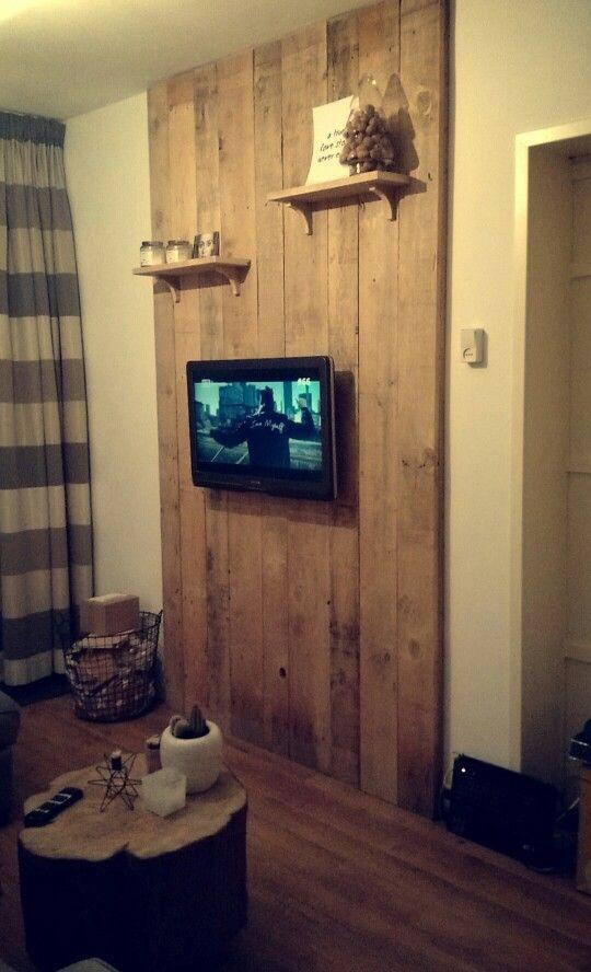 Janus Tv Meubel.Tv Meubel Wand Home Made Pallet Hout Steigerhout Tv Meubel Wand