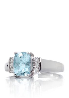 Belk  Co. Aquamarine Cushion Cut Aquamarine Gemstone  Diamonds Ring set in 14K White Gold