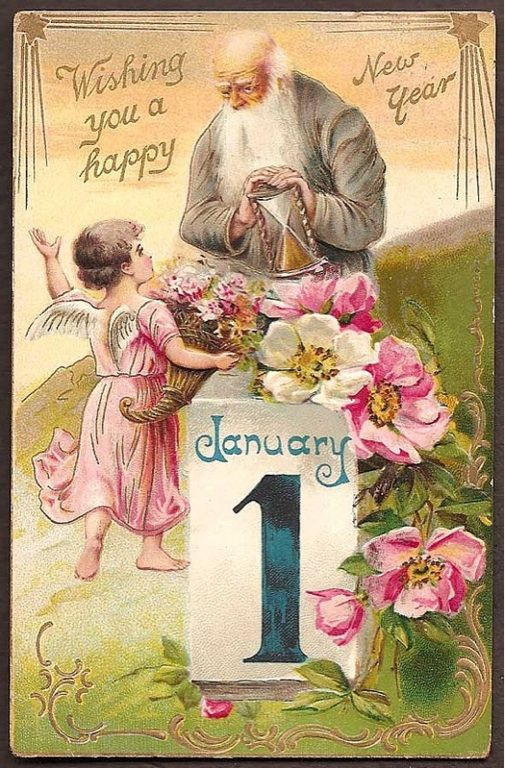 New Year postcard with Father Time: