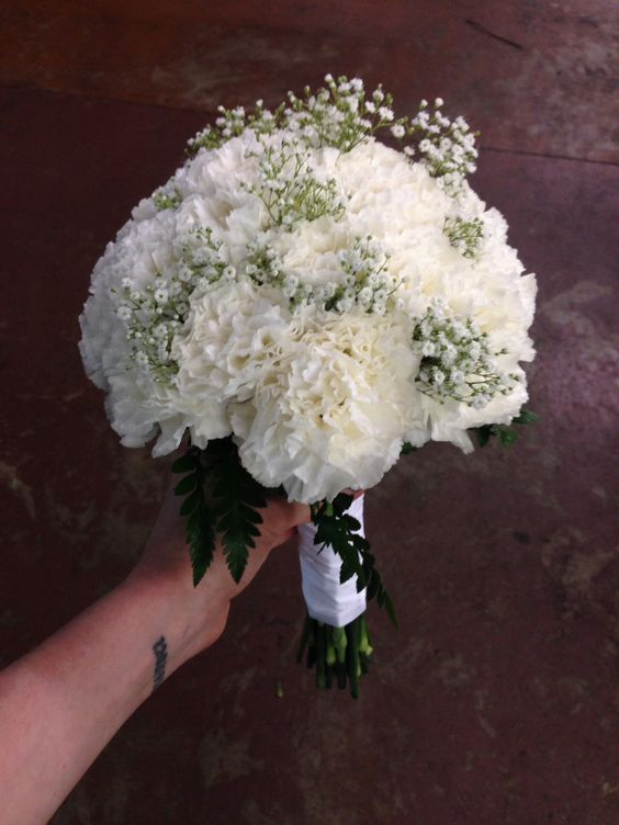 Bridal bouquet, white carnations, babies breath, all white, wedding flowers, Memphis, tn