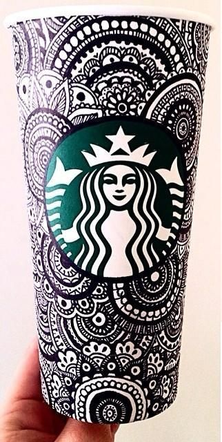Turn your coffee into a work of art with just a sharpie.  This photo has inpsired me to do something similar with my starbucks cups