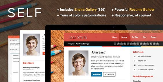 Self - A Powerful vCard Theme w\/Resume Builder - Portfolio - creative resume builder