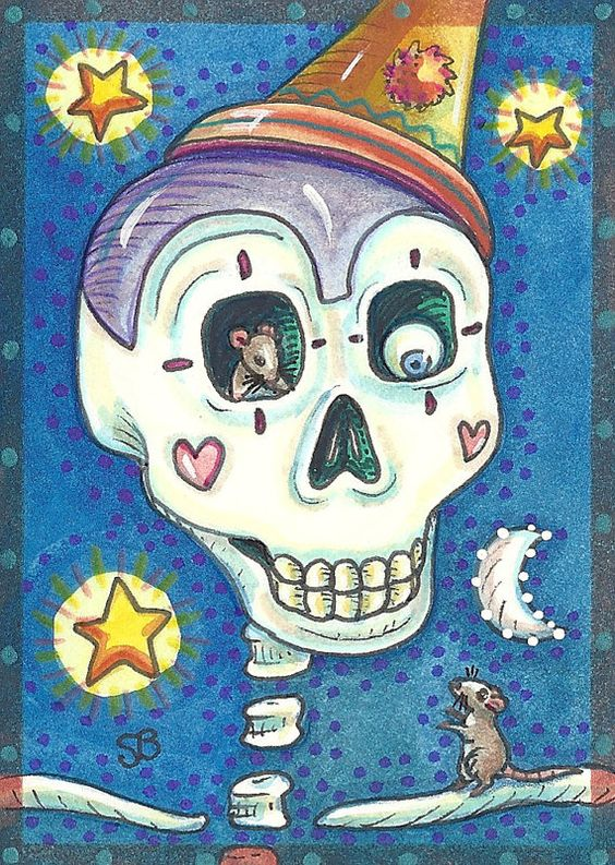 Day Of The Dead CLOWN One Eye Skeleton Mouse EHAG by susanbrack, $8.99