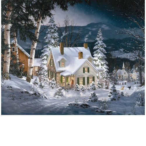 Friends in Winter 1000 Piece Puzzle: The window glow and smoke rising from the chimney of this quaint New England farmhouse create a feeling of warmth in this wintry scene.  http://www.calendars.com/White-Mountain-Puzzles/Friends-in-Winter-1000-Piece-Puzzle/prod1289114/?categoryId=cat330092=cat330092#
