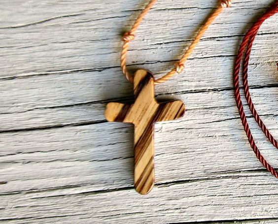 Wood Cross Necklace  Rustic African Zebrawood  by The Lotus Shop, $14.95
