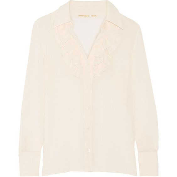 Saint Laurent Ruffled silk-georgette shirt (£815) via Polyvore featuring tops, ruffle top, ruffle collar shirt, ruffle shirt, cream shirt and frilly shirt