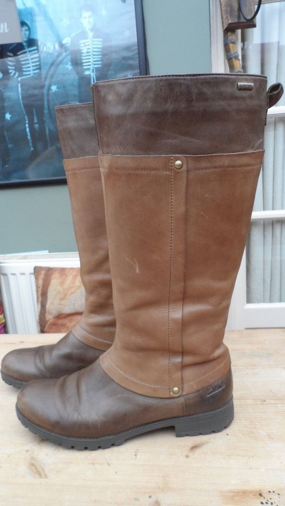 CLARKS GORE-TEX KNEE HIGH TAN LEATHER