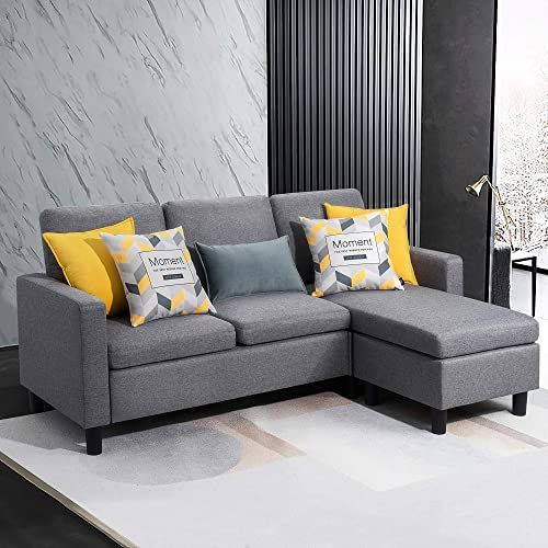 New Walsunny Convertible Sectional Sofa Couch Reversible Chaise L Shaped Couch Modern Linen Fabric Small Space Dark Grey Online Shopping Newtrendyfashio In 2020 Sectional Sofa Couch Modern Couch Sectional Sofa