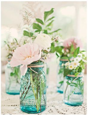 Flowers in Blue Mason Jars